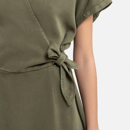 Платье цвета хаки из материала лиоцелл