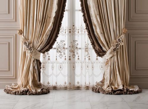 бархатные бежевые шторы